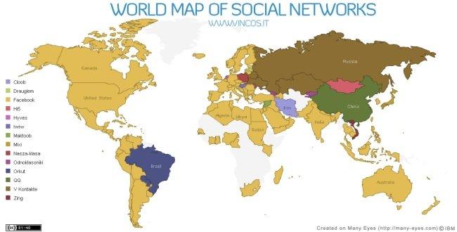 MARKETING-10.COM - Facebook y Twitter dominan el mapa mundial de redes sociales creado por Vicenzo Cosenza